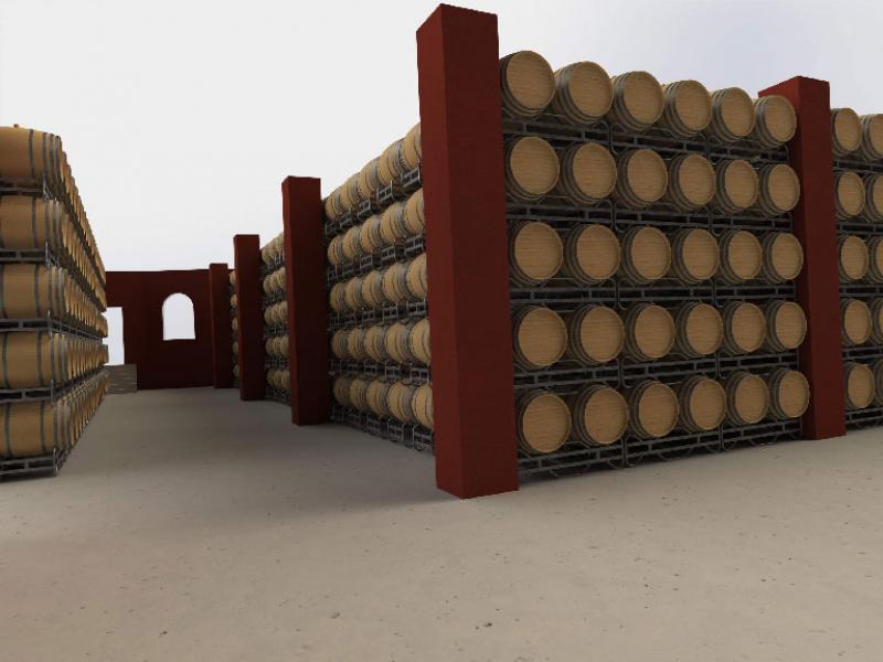 Vista 3D en planta de bodega